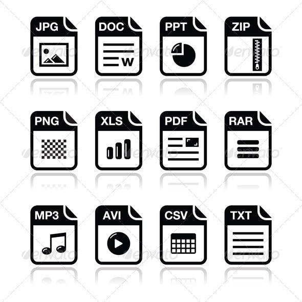 File type black icons with shadow set - zip, pdf,