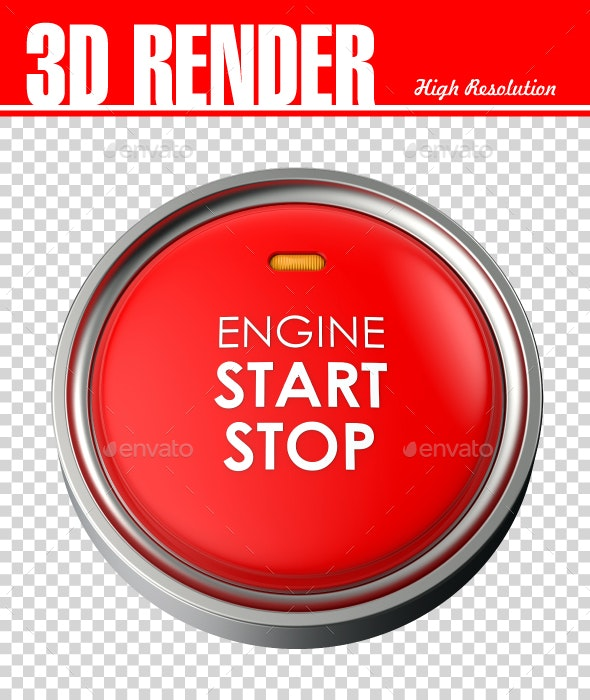 Start Stop engine button - Objects 3D Renders