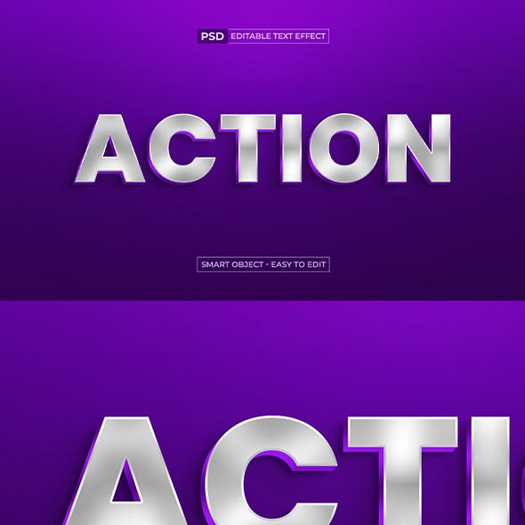 Action Editable 3D Text Effect With Glossy Style