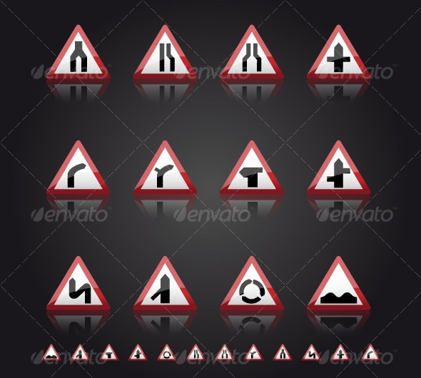 UK Road Signs: Warnings 1 - Man-made objects Objects
