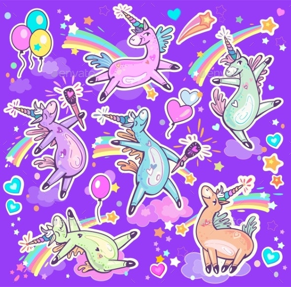 Set of Cute Dancing and Singing Unicorns - Animals Characters
