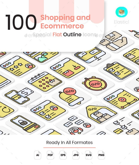 Shopping and Ecommerce Flat Outline Icons - Business Icons