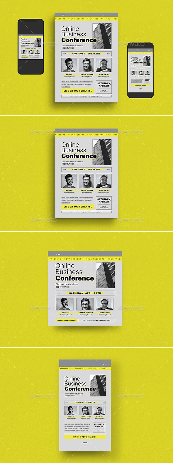 Online Business Conference Flyer Set - Flyers Print Templates