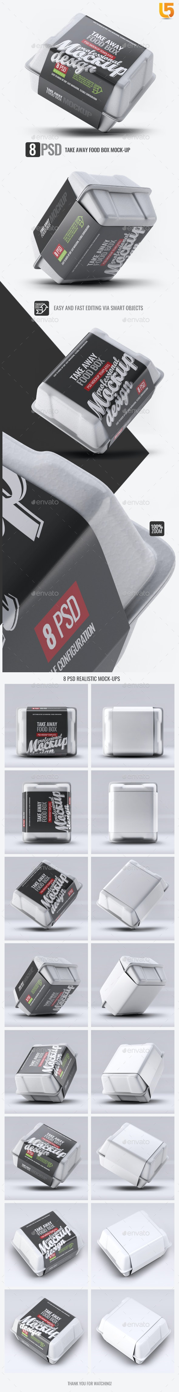 Take Away Food Box Mock-Up - Food and Drink Packaging