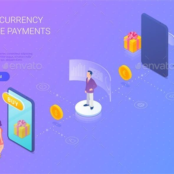 Online Shopping Multi-Currency Payment Isometric Flat Vector Illustration.