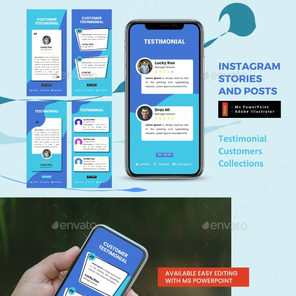 Testimonial Collection Instagram Stories and Feeds Template