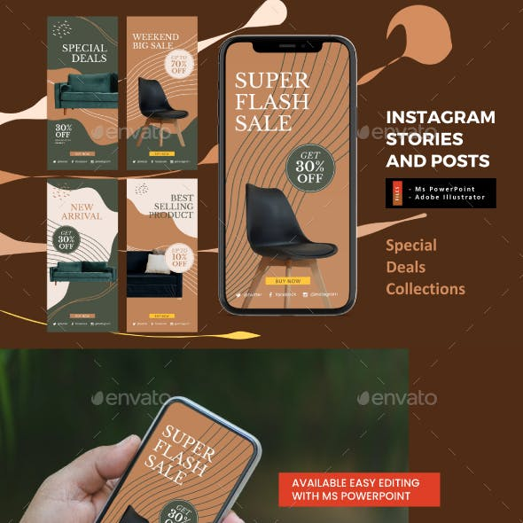 Furniture Promotion Instagram Stories and Feeds Template
