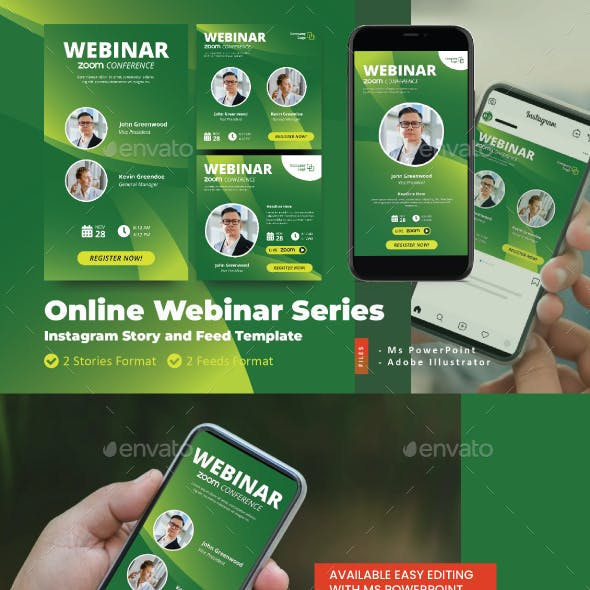 Online Webinar Live Zoom Instagram Story and Feed Template