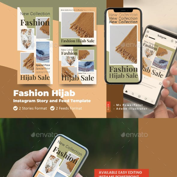 Fashion Hijab Sale Instagram Story and Feed Template