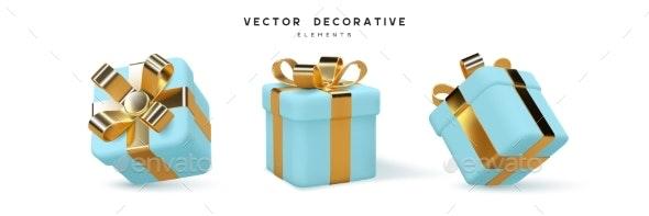 Set of 3d Gift Boxes - Seasons/Holidays Conceptual