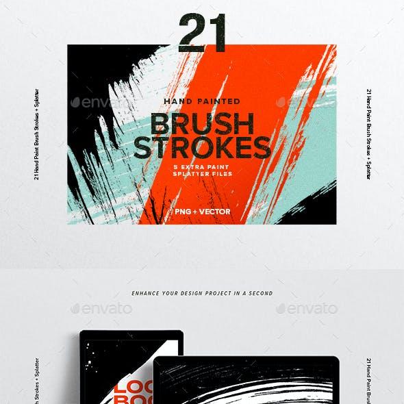 21 Hand Painted Brush Strokes