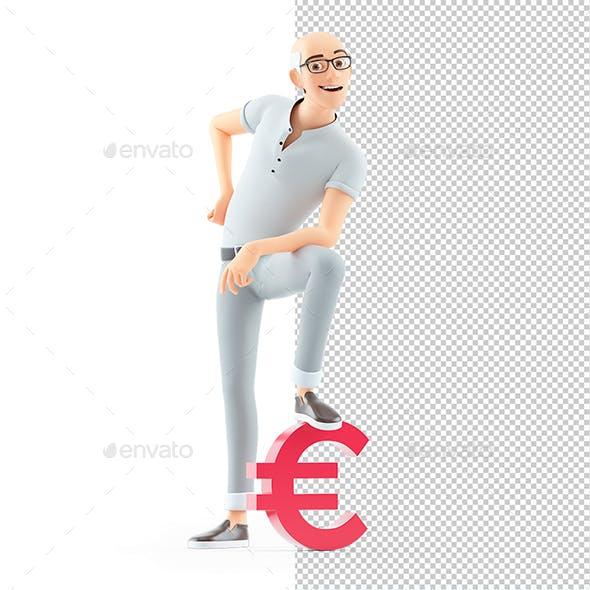 3D Senior Man Foot on Euro Sign