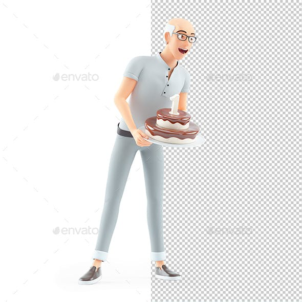 3D Senior Man Holding Birthday Cake