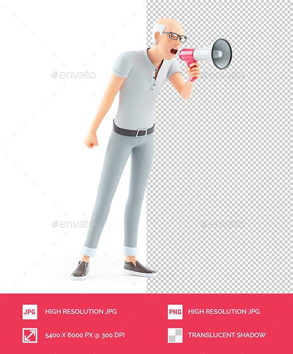 3D Senior Man Shouting Through Megaphone - Characters 3D Renders