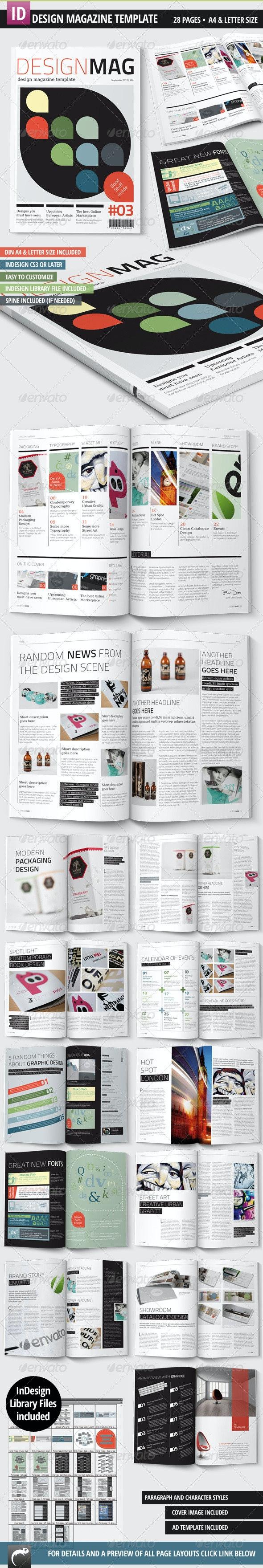 Design Magazine Template - A4 + Letter - 28 Pages - Magazines Print Templates