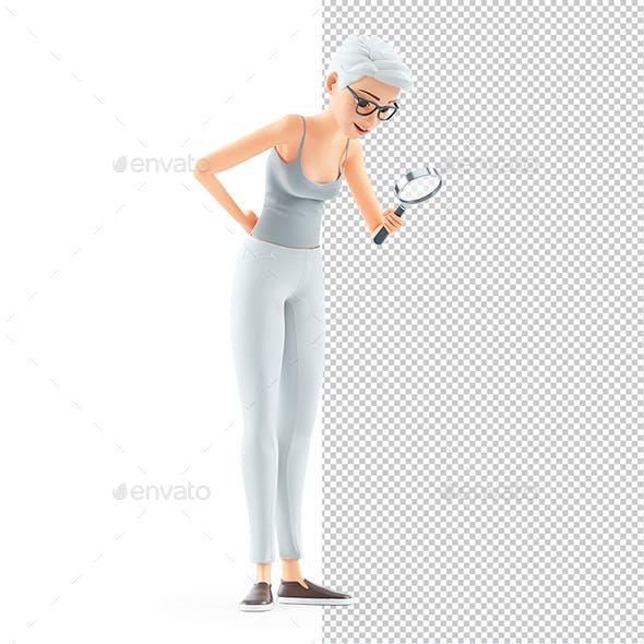 3D Senior Woman Looking Through Magnifying Glass