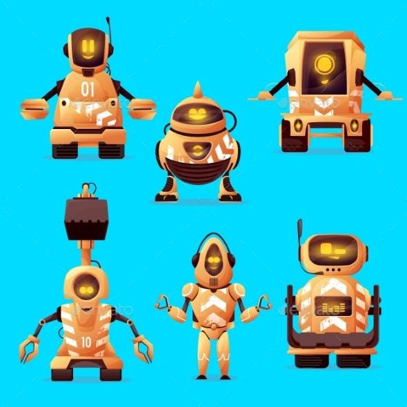 Robot Road Worker Cartoon Characters