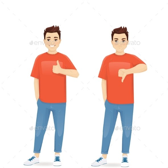 Young Man Gesturing Thumb Up and Thumb Down