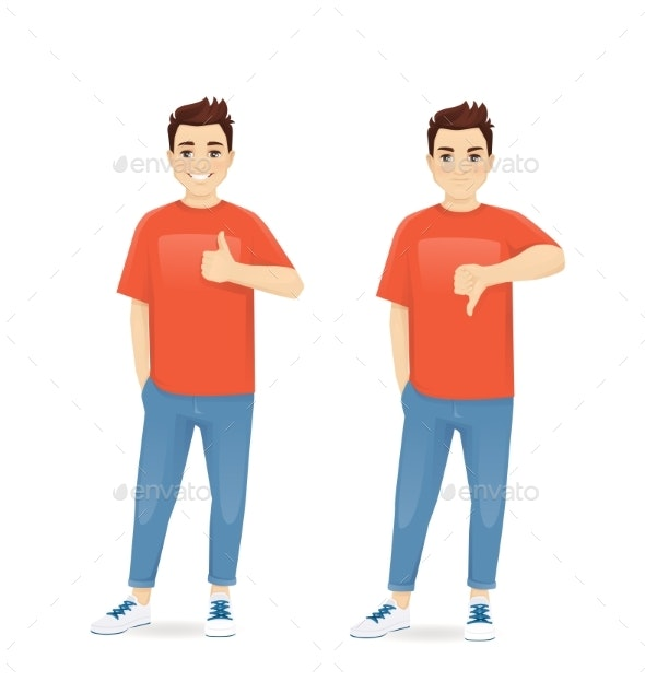 Young Man Gesturing Thumb Up and Thumb Down - People Characters