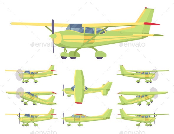 Light Aircraft Green Yellow Stripe Plane Livery - Man-made Objects Objects