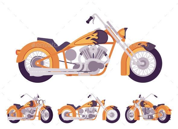 Chopper Custom Fire Decor Classic Motorcycle - Miscellaneous Vectors