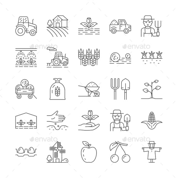 Set of Farming and Agriculture Line Icons
