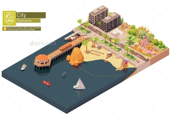 Vector Isometric Beach Pier and Amusement Park - Buildings Objects