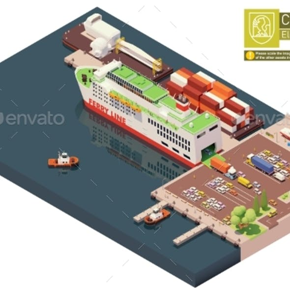 Vector Isometric Ferry Ship Unloading