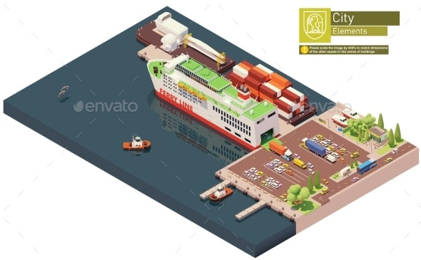 Vector Isometric Ferry Ship Unloading - Man-made Objects Objects