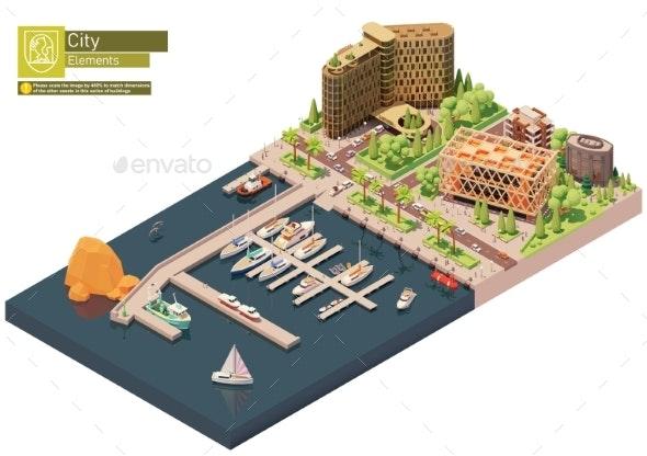 Vector Isometric Marina - Buildings Objects