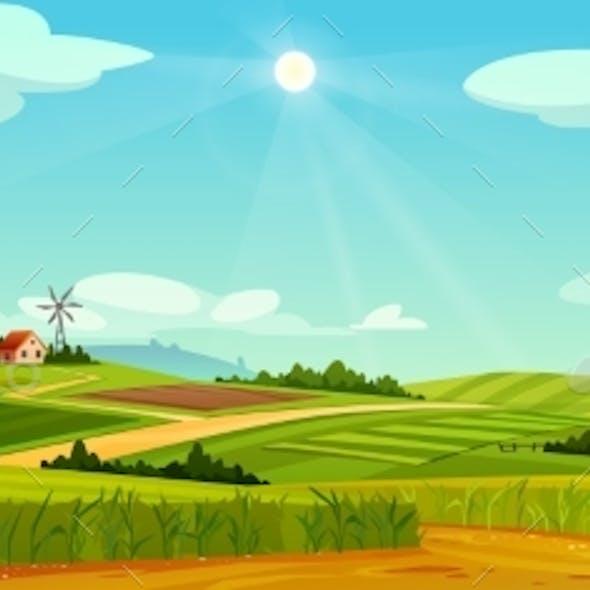 Rural Landscape with Farm Houses Windmills Barns
