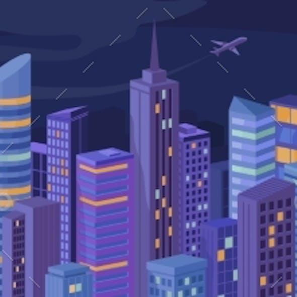 Night Urban Building Skyscrapers City Panorama