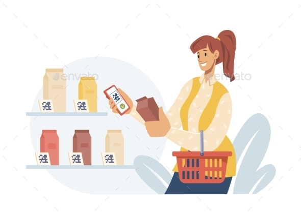 Woman Choose Food in Supermarket Pay By Qr Code - Technology Conceptual