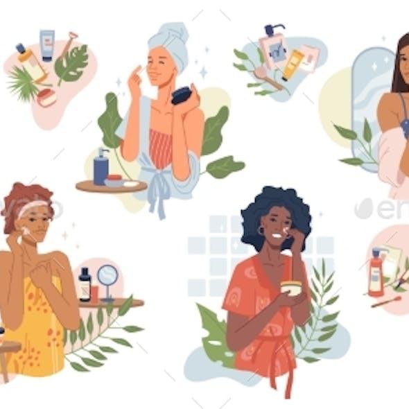 Women Take Care of Face Skin with Cream Girls Set