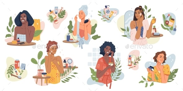 Women Take Care of Face Skin with Cream Girls Set - People Characters