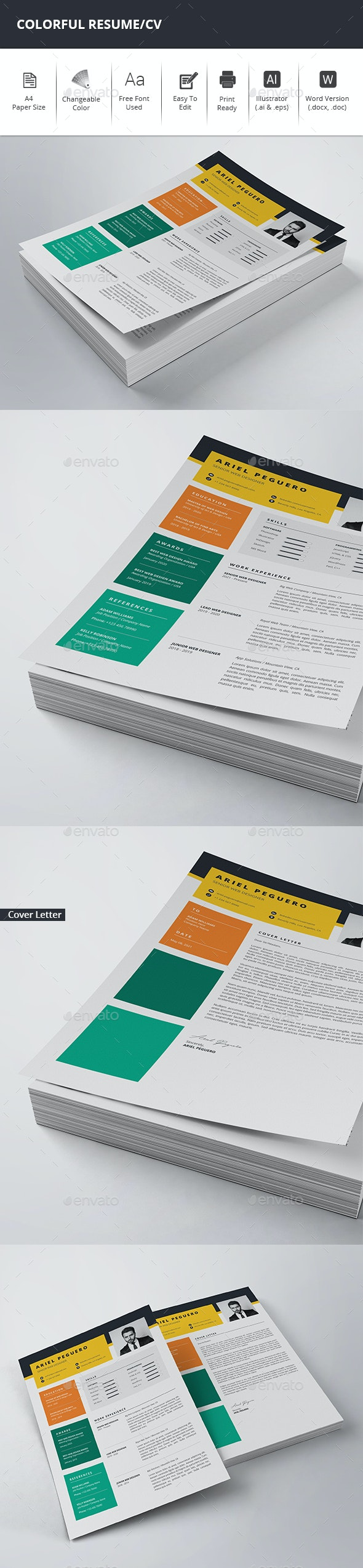 Colorful Resume/CV - Resumes Stationery