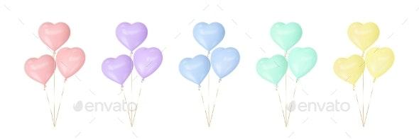 Set of Colorful Heart Balloons - Seasons/Holidays Conceptual