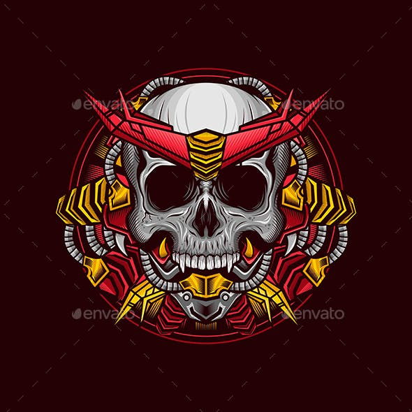 Illustration of Red Cyborg Armor Skull Head