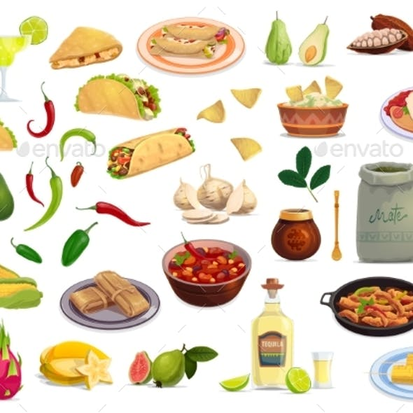 Mexican Cuisine Food and Drink Cartoon Set