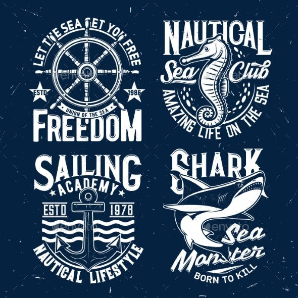 Tshirt Prints with Ocean Animals and Typography