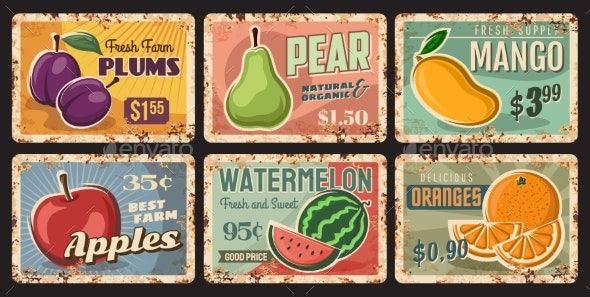 Fruits Rusty Metal Plates Vector Rust Tin Signs - Food Objects