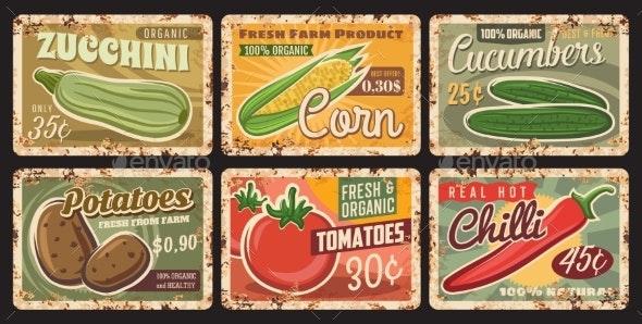 Organic Farm Fresh Vegetables Rusty Metal Plate - Food Objects
