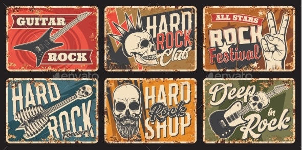 Rock Music Club Festival and Shop Rusty Tin Sign - Miscellaneous Vectors