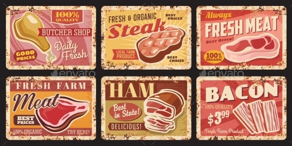 Butcher Shop Organic Meat Tin Signs Rusty Plates - Food Objects