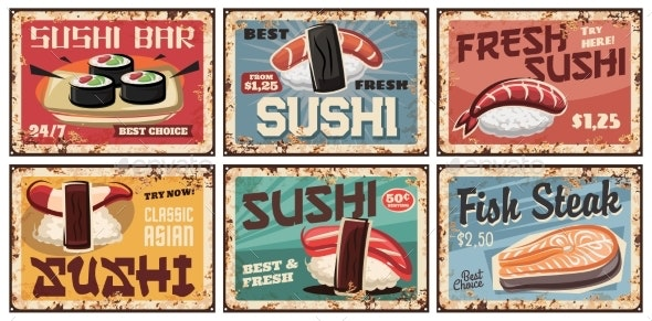 Sushi Metal Plates or Retro Posters Japanese Food - Food Objects
