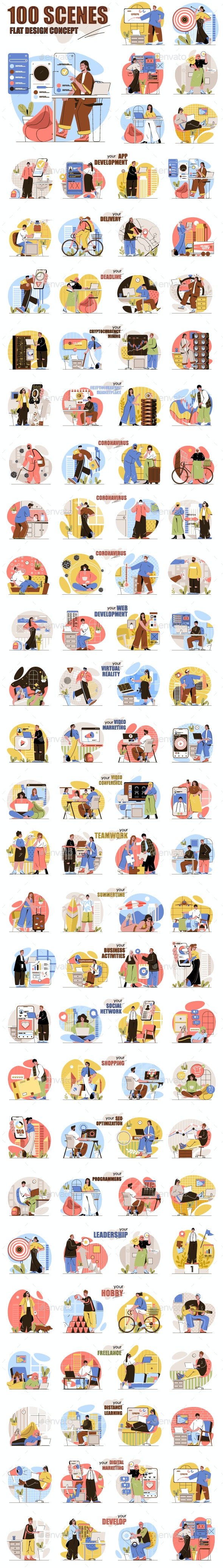 Flat Line Web Illustration Pack - People Characters