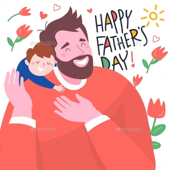 Happy Father's Day Lettering and Happy Dad - People Characters