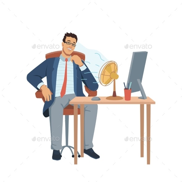 Heat in Office Man at Workplace Blowing Ventilator - People Characters