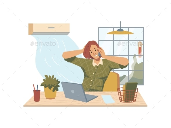 Heat in Office Woman at Workplace Air Conditioner - People Characters