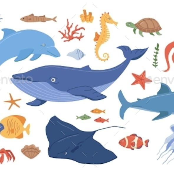 Cartoon Sea Ocean Animals Corals and Seaweeds